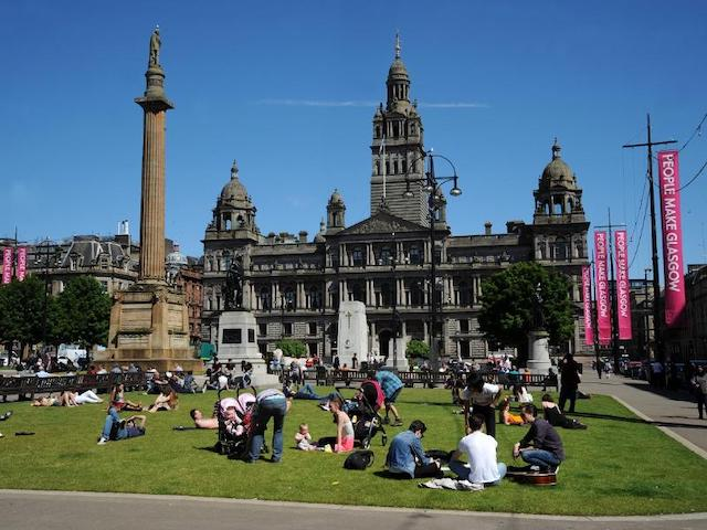 George Square on a sunny day, courtesy Glasgow City Council