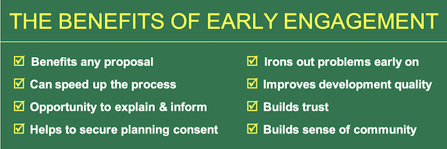 summary diagram of benefits of early engagement